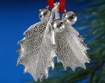 Sterling Silver Holly Leaf Ornament with engraving