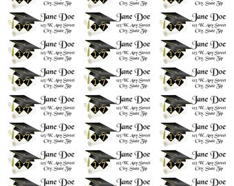 Diploma Address Labels-Diploma Return Address Labels-2017 Diploma Return Address Labels-Black and Gold Graduation Labels-Diploma Graduation