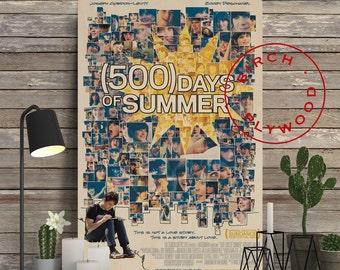 500 Days of Summer - Poster on Wood, Zooey Deschanel, Joseph Gordon-Levitt, Print on Wood, Unique Gift, Wood Block Print, Wood Wall Decor