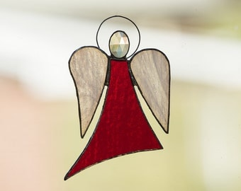 """Red """"Angel of Truth"""" Stained Glass Angel w/Wispy White Wings"""