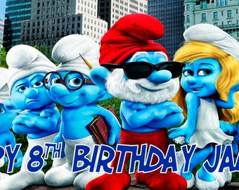 Smurf Personalized Birthday Banner/Backdrop