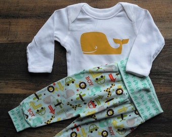 Cotton knit wiggly pants / cotton knit leggings /  baby boy outfit / onesie with whale design / infant and toddler outfit