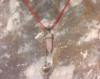 Heart Strings Rose Quartz Pendulum Necklace