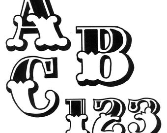 """TRACEABLE ALPHABET #118 -  2.5"""" TALL.  All Capital Only & Numbers from 0 thru 9. Woodworking / Craft Pattern"""