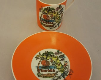 Kitschy Florida Teacup and Saucer set, vintage.
