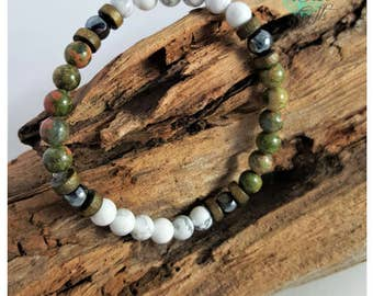 Handmade Mens Beaded Healing Bracelet, wood beads, Howlite, Hematite, Unakite, elastic fit, Jewellery - IVF TTC Gift