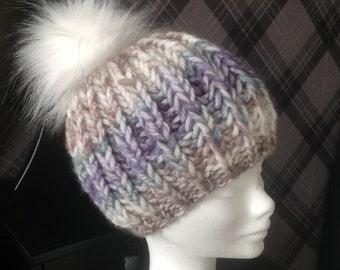 Chunky Stripey Beanie Hat - Acrylic yarn and faux fur pom pom
