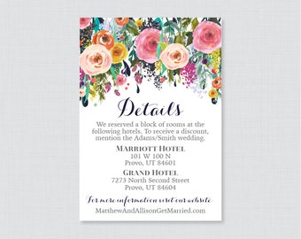 Printable OR Printed Wedding Details Cards - Floral Wedding Details Inserts - Colorful Flower Wedding Details Invitation Insert 0003-B