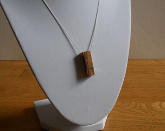 Olive Wood and Metal Necklace on Silver Chain - Vintage Coin