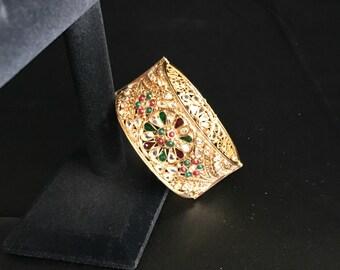 Indian Jewelry - Kundan Bangle - Multi-colored Antique Gold Bangle - Bollywood Jewelry - Indian Statement Jewelry - Traditional Jewelry