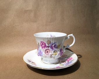 Vintage Hand decorated Elizabethan Teacup and Saucer- Fine Bone China - Staffordshire - Floral Pattern