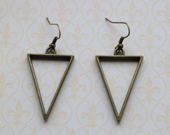 Minimalist bronze geometric triangle earrings
