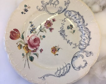 7 French Antique Dinner Plates (Sarreguemines, Gien, transferware, shabby chic, vintage, faience, terre de fer, Bourgeois, Grand Depot)