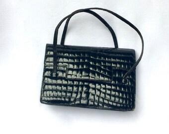 Vintage Bag, Croco Fashion, Retro Bag, Chic Bag, Leather, French Fashion,