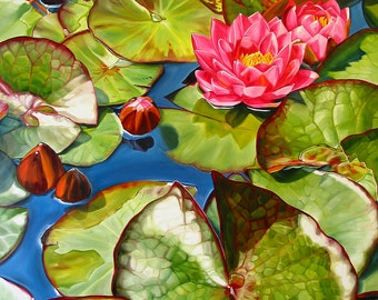 "Waterlily print, 11x14 inch matted print from original oil painting ""Lilypads"" by Sheryl Sawchuk"