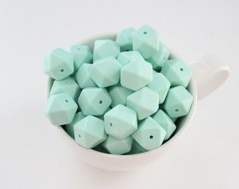 Mint hexagon food grade silicone beads / Perfect for baby teething toys / Safe for teething / Choose amount