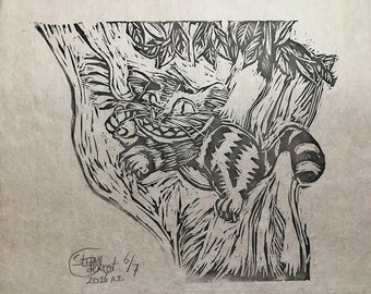 Alice in Wonderland - Cheshire Cat Linocut