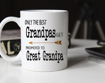 Only the best grandpas get promoted to great grandpa, grandpa gift, Pregnancy Reveal, Baby announcement, Great Grandpa mug, Grandfather, Mug