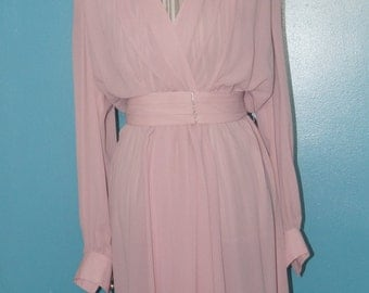 1970's Leslie Fay Wrap Style Day Dress
