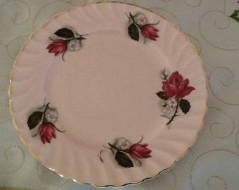Vintage Queen Anne Pink Roses Bread and Butter Plate Replacement Spare Good Condition - Made in England High Tea Cake Plate Side Plate Rose