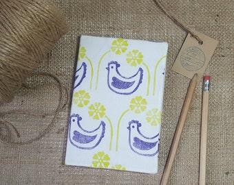 Fleurs Garden A6 Notebook, Chicken notebook, Hen Notebook, Flower notebook, Fabric notebook, Hardback notebook, Stationary