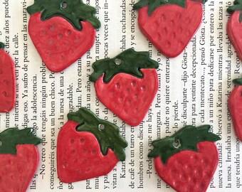 Ceramic Strawberry Pendant, Pottery Strawberry Pendant, Ceramic Pendants, DIY Jewelry || 4,5 cms X 4 cms / 1,77'' X 1,57'' ||