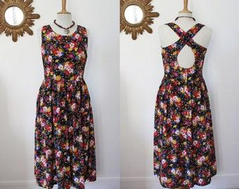 Long floral dress, vintage, printed floral, Hippie Bohemian boho dress skater, sleeveless, backless, cross-straps, T. M, en 40/42