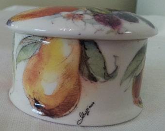 trinket box, bone china, fruit, made in England