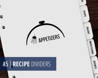 A5 Recipe Binder Dividers - Printable Cook Book Dividers - Minimalist, Zen - Black & White - Instant Download