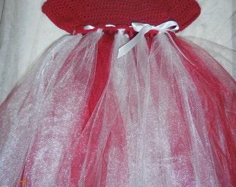Girl's dress, girl's crochet/tulle dress, girl's crochet dress, girl's tulle dress