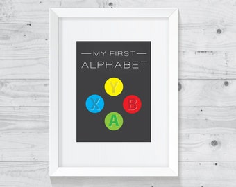 My First Alphabet Xbox Print - Xbox Art - Geeky Nursery Art - Nerdy Nursery Printable - Video Games Art - Digital download printable