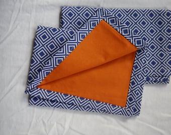 Cloth Napkins - Navy and white with orange backing
