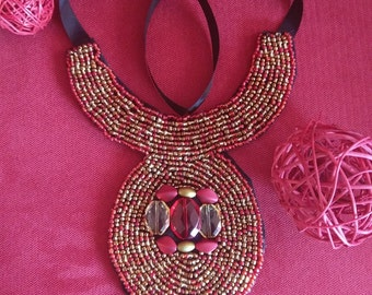 Hand Beaded Red & Gold Bib Statement Necklace