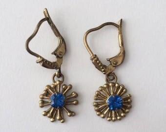 Vintage 1950's Blue Rhinestones Dangle Drop Earrings