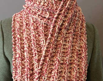 Pink Scarf, Ladies Scarf, Knitted Scarf, Hand Knit Scarf, Knitted Variegated Pink Scarf, Pink and White Scarf