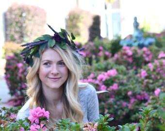 "The ""Anna"" floral halo crown // flower crown, purple wedding, lavendar flower headband, floral headpiece, floral halo, head wreath, boho"