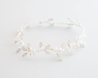 Headdress of bride - Tiara leaves woven with Swarovski pearls details