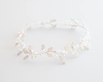 Headdress of bride - Tiara leaves woven with Swarovski pearls details