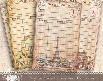 Paris Library Card, Printable Journal Vintage Library Card, Aged Paper Digital Collage Sheet, Paris Collage Sheet