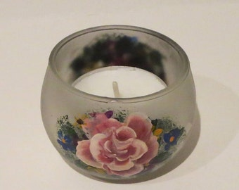 Hand Painted Frosted Glass Tea Lite Holder