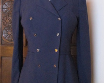 Navy Blue Wool Karl Lagerfield Bergdorf Goodman Double Breasted Blazer Sz 38