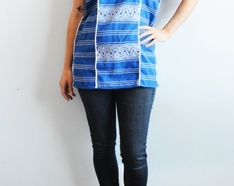 Handwoven Blue and White Tunic - Geometric Pattern, Oaxaca Huipil