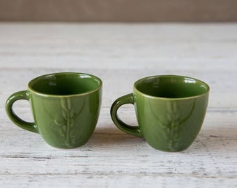 2 Espresso Tea  Cup Dark Green-Food Photography Props