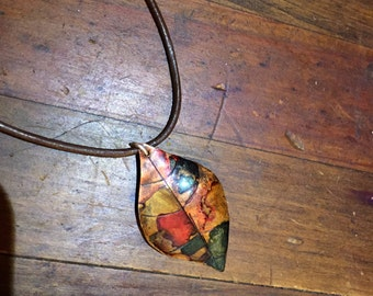 Hand crafted copper leaf necklace