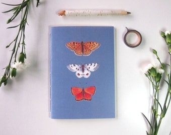 a5 handmade notebook, blue and orange butterfly journal, butterfly stationery, elegant illustrated planner, butterfly print, spring decor
