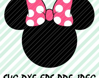 Minnie Mouse Bow Pink SVG DXF Eps Pdf Vector Cut File Design Cricut Cameo Silhouette Disney Birthday Party Instant Download Files Printable