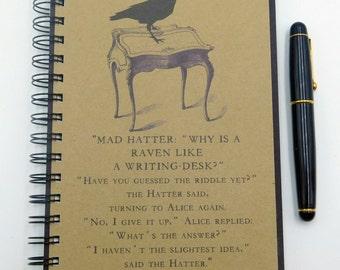 Alice in Wonderland Journal Spiral Bound Notebook, Bookish Gift