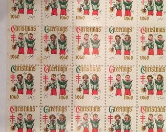 1960 Vintage Christmas Envelope Seals - American Lung Association