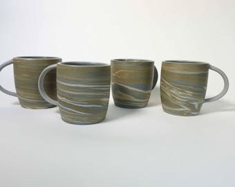 Marbled Tea or Coffee Cups with Handles