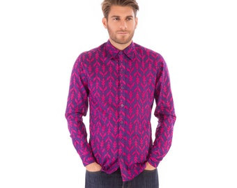 Mens 100% Cotton Long Sleeve Slim Fit Shirt Purple Print